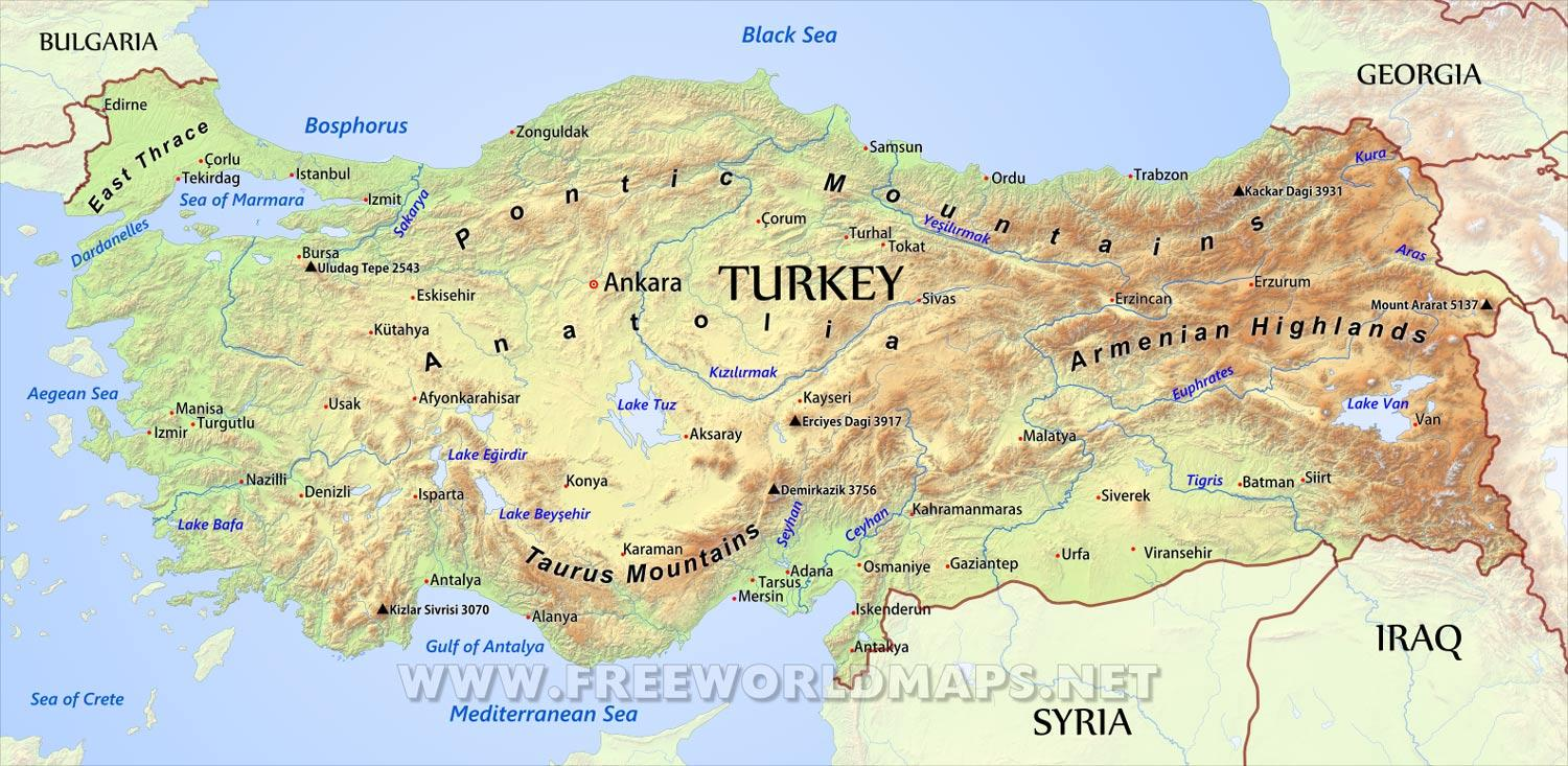 Turkey geographical map Turkey geographic map