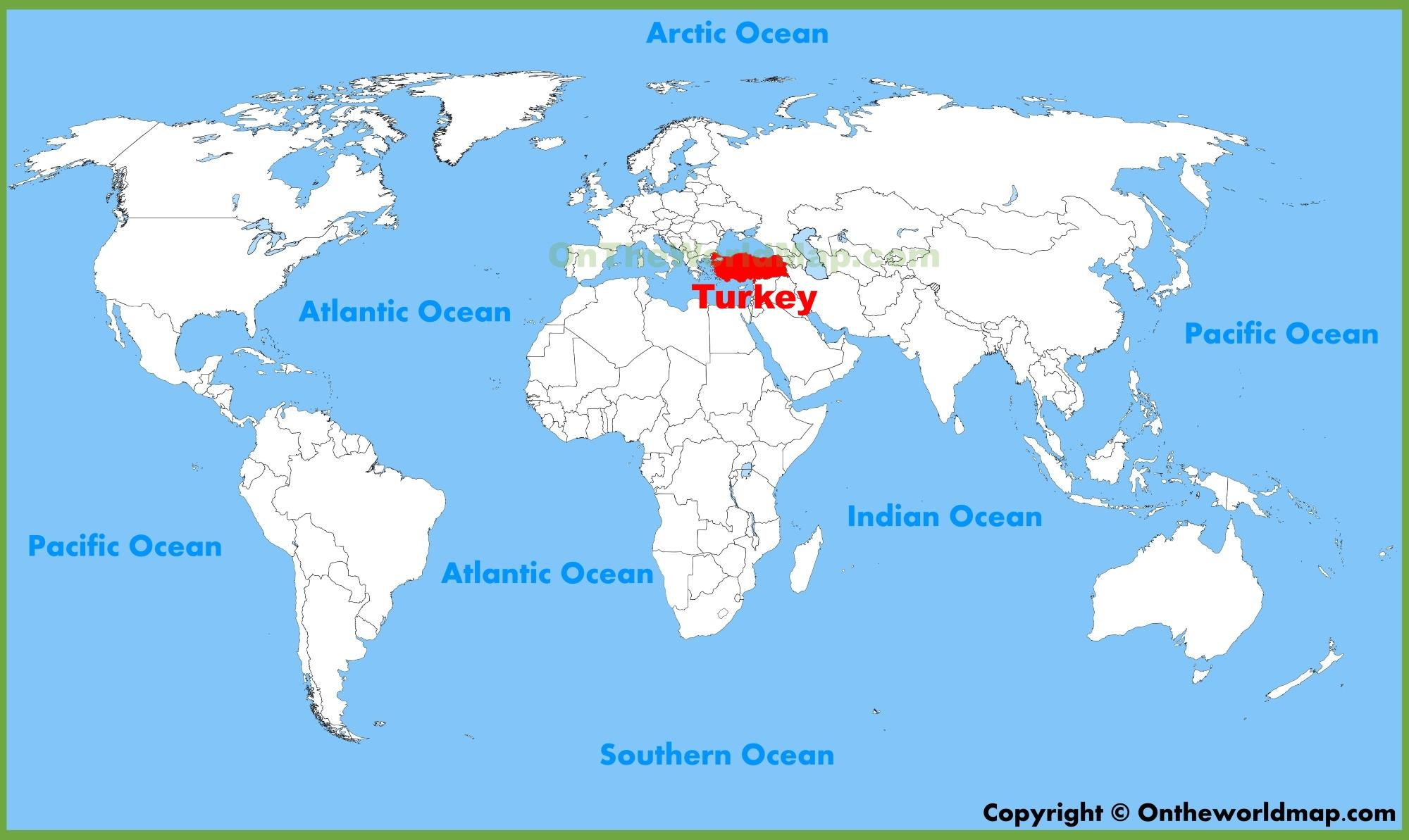 Turkey location on world map Turkey country in world map Western