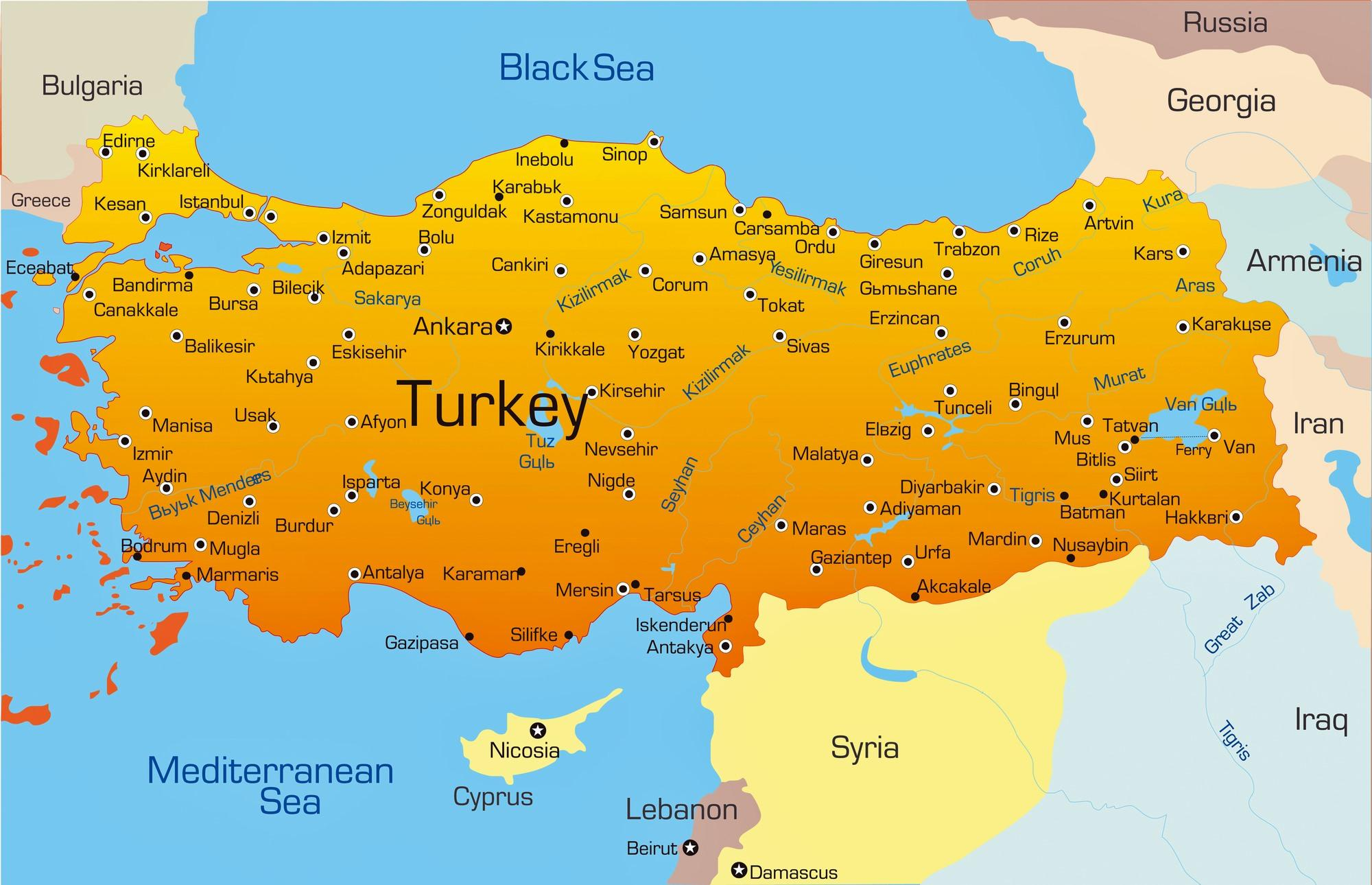 Turkey map cities Major cities in Turkey map Western Asia Asia