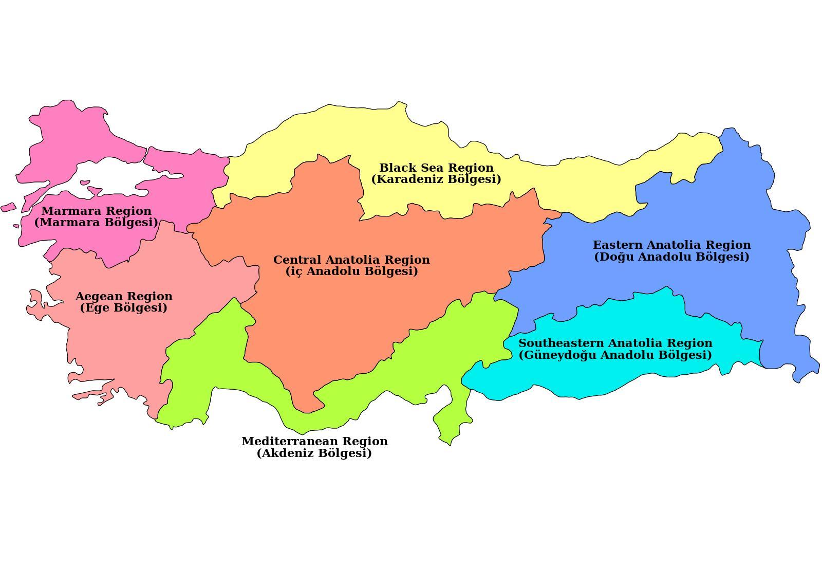 Turkey region map Map of Turkey region Western Asia Asia