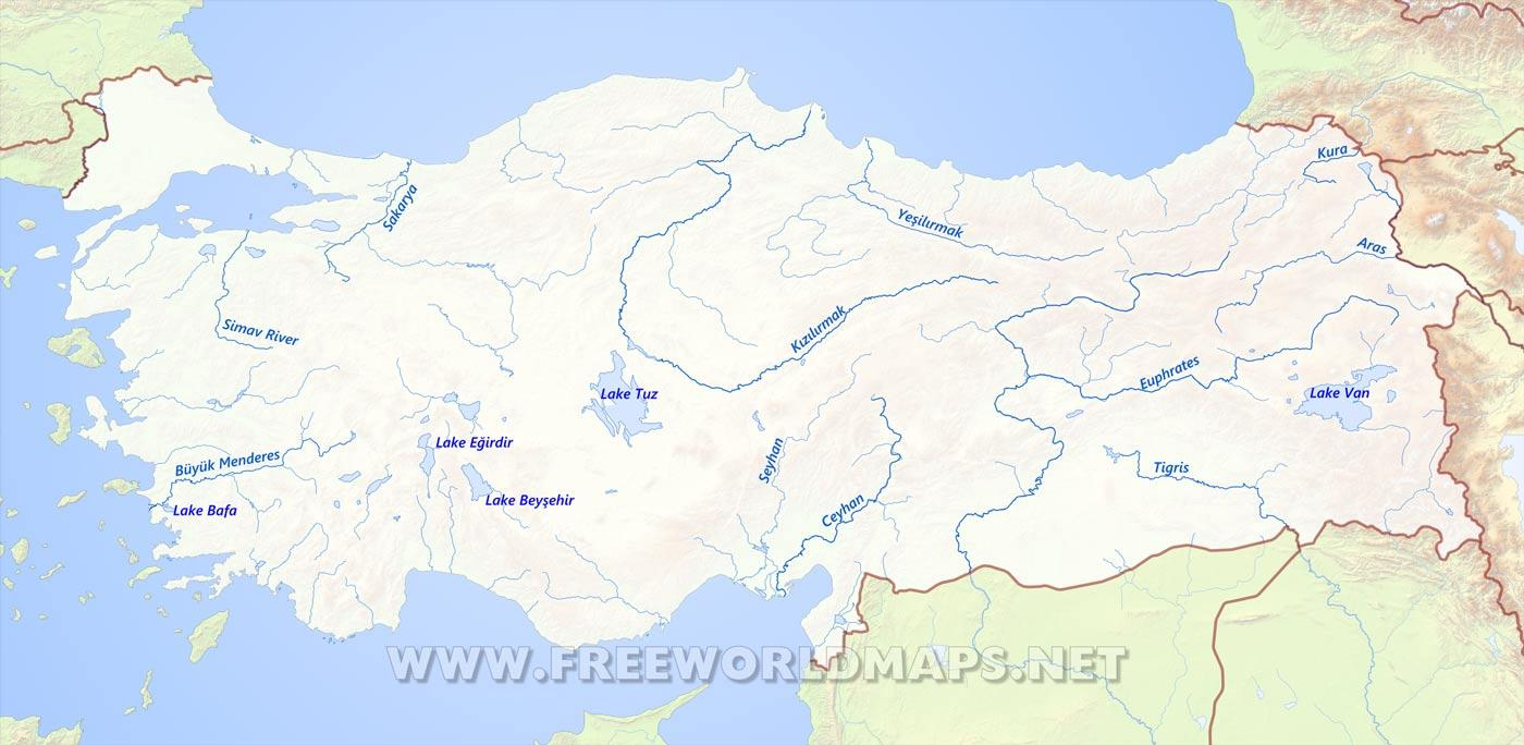 Turkey river map Map of Turkey river Western Asia Asia