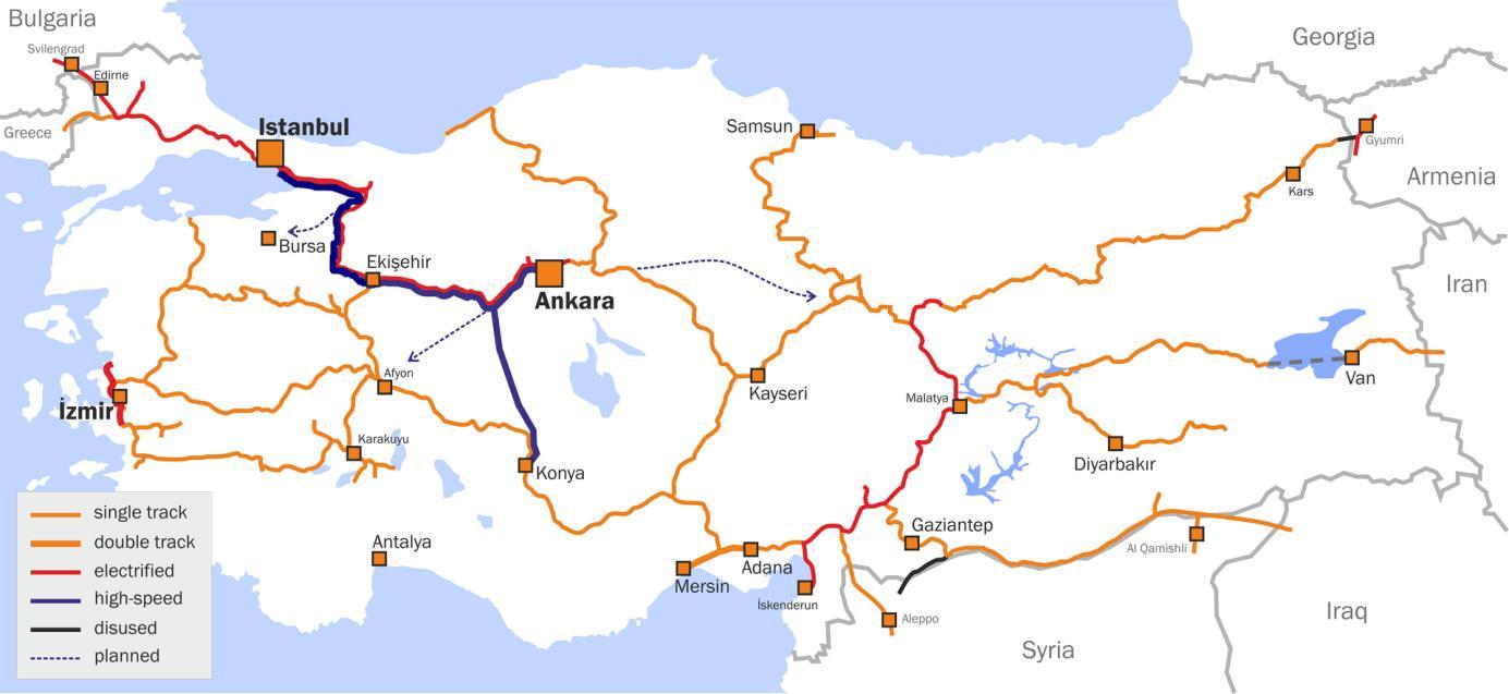 Turkey train map Map Turkey train Western Asia Asia