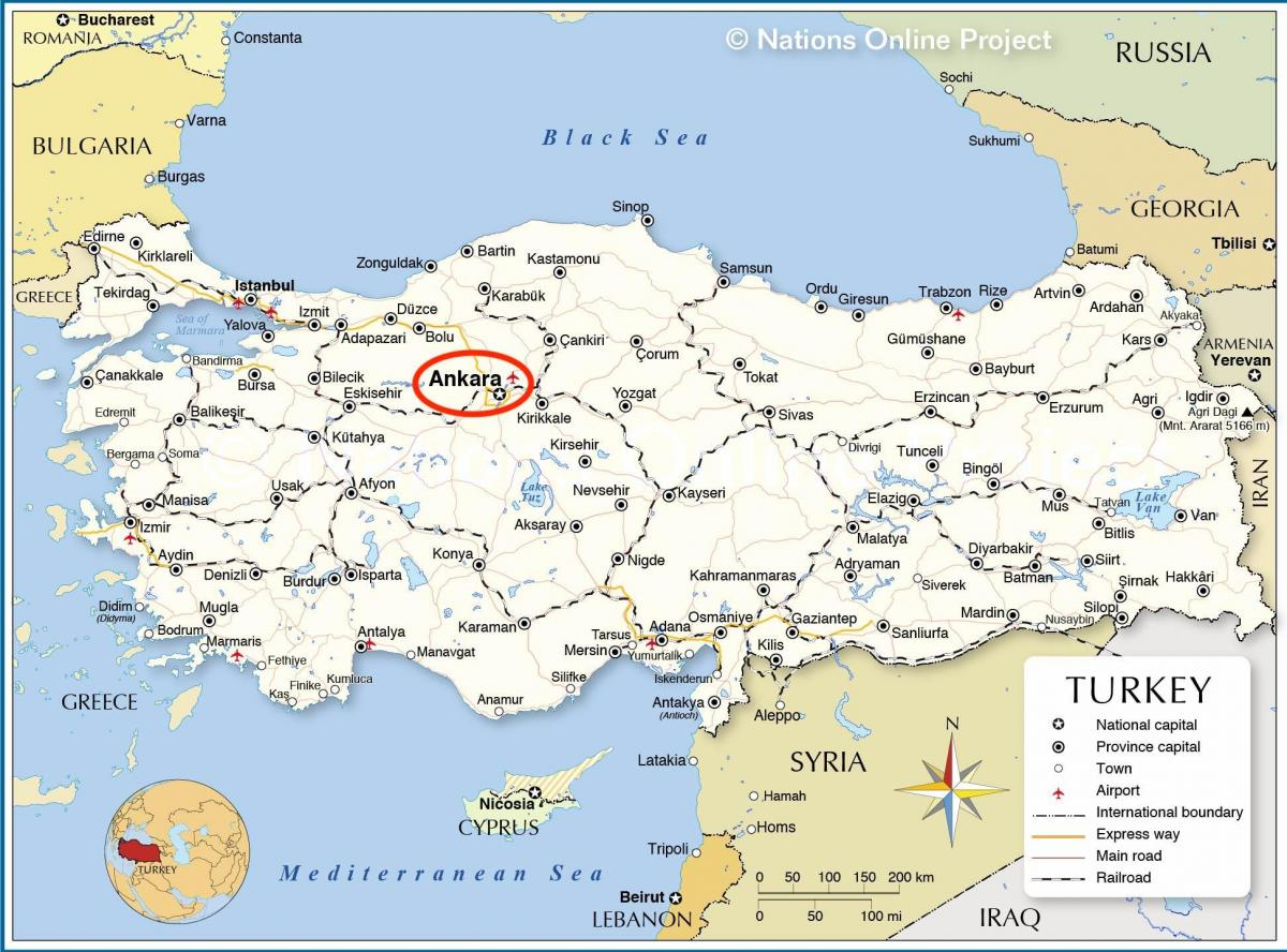 map of Turkey capital