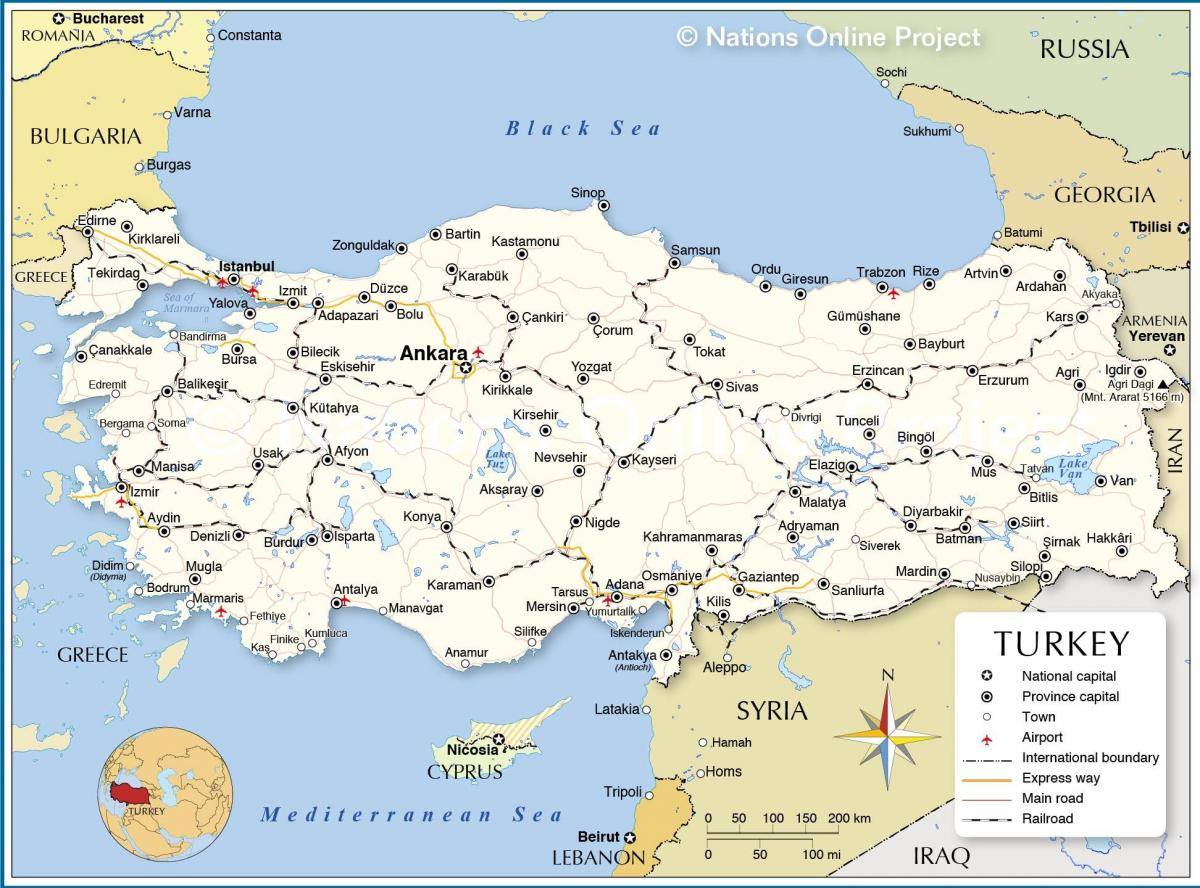 Map of Turkey and surrounding countries - Turkey country map ...