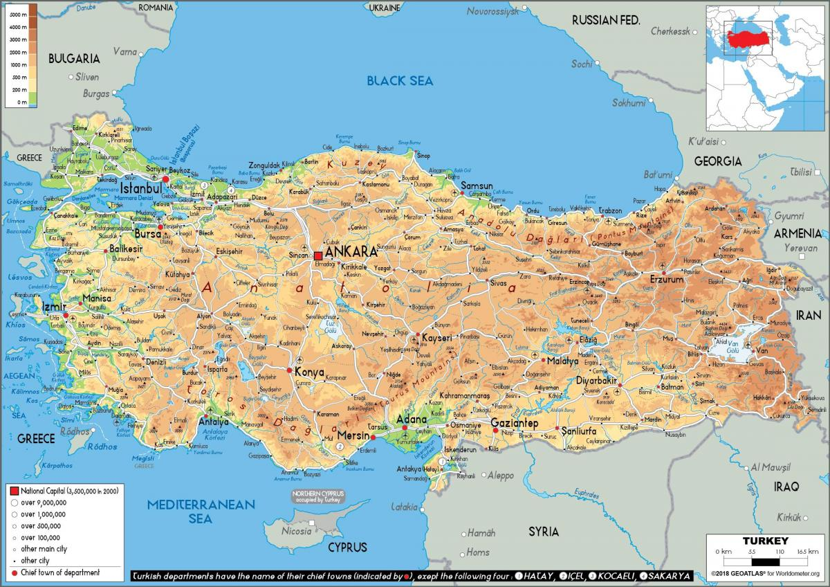 map of Turkey physical