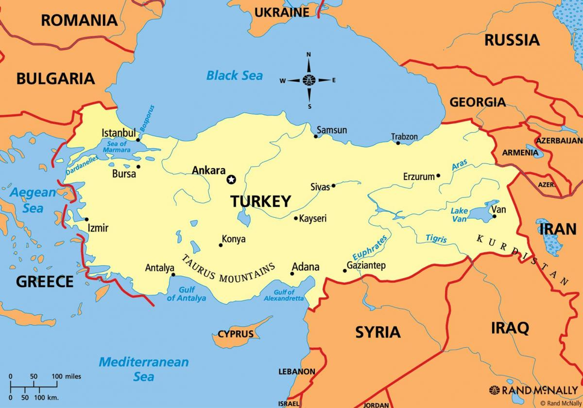 map of Turkey continent
