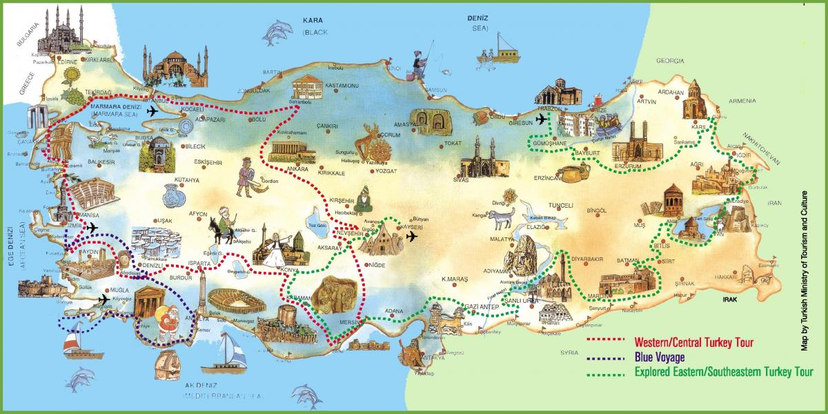 Turkey map holiday resorts
