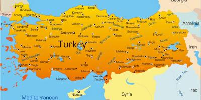 Major cities in Turkey map